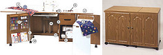 image of Ultimate 2 Drawer, Electric Lift Sew & Serger Credenza. White Only. Opening 24